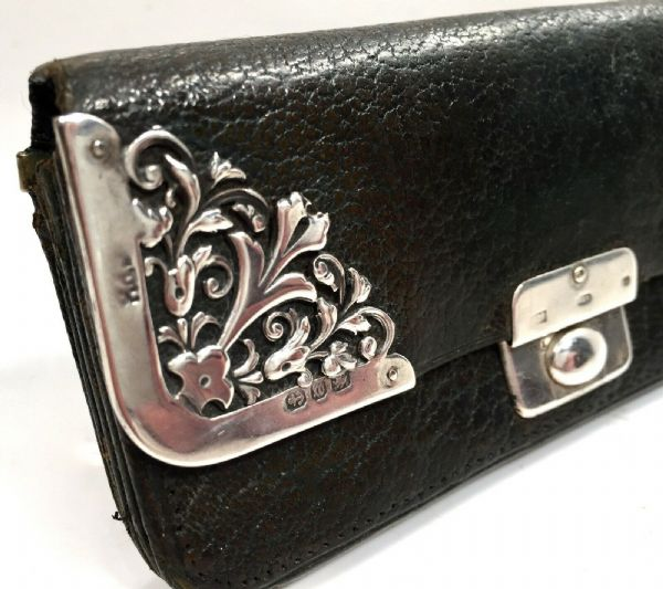 Antique Art Nouveau Silver Covered Ladies Leather Purse / Wallet Birmingham 1896